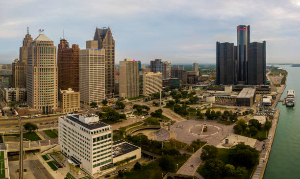 An aerial view of the Detroit Michigan city skyline stock photo