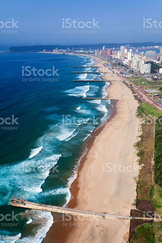 An aerial view of the Durban coastline  stock photo