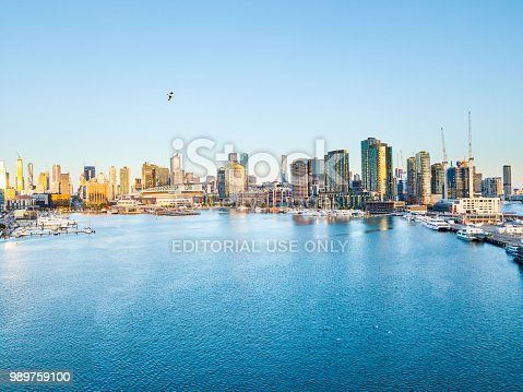 istock An aerial view of the Melbourne Docklands at Twilight 989759100