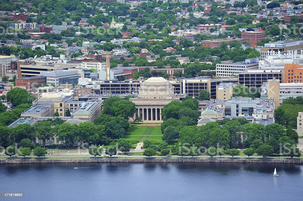 An aerial view of The MIT campus of Boston stock photo