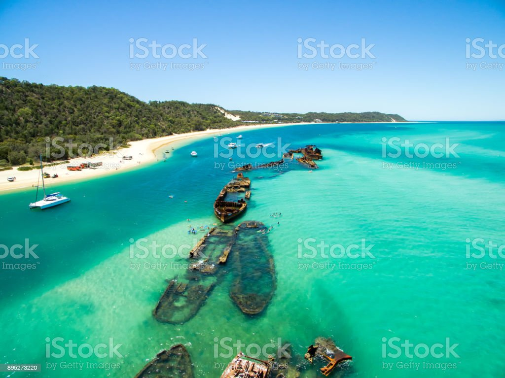 An aerial view of the Moreton Island shipwrecks near Tangalooma Island Resort stock photo
