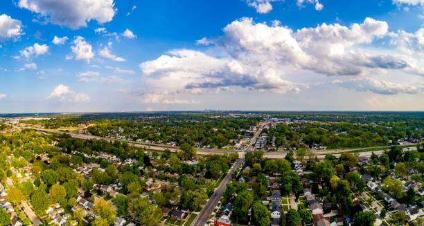 An aerial view of the suburbs of Detroit Michigan in summer stock photo