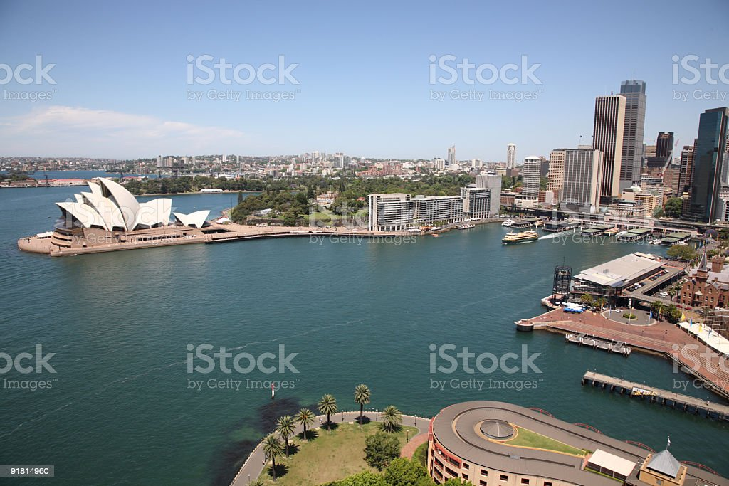 An aerial view of the Sydney Harbour Opera House stock photo