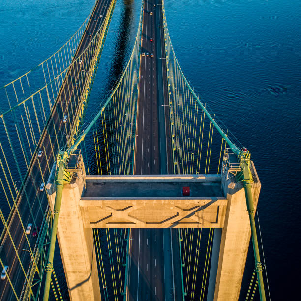 An Aerial View Of The Tacoma Narrows Bridge The Tacoma Narrows Suspension Bridge gig harbor stock pictures, royalty-free photos & images