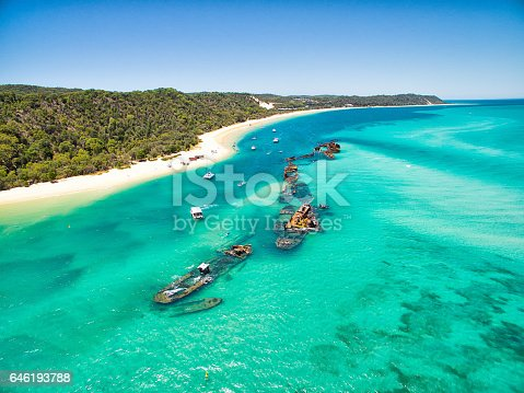 istock An aerial view of the Tangalooma shipwrecks on Moreton Island 646193788