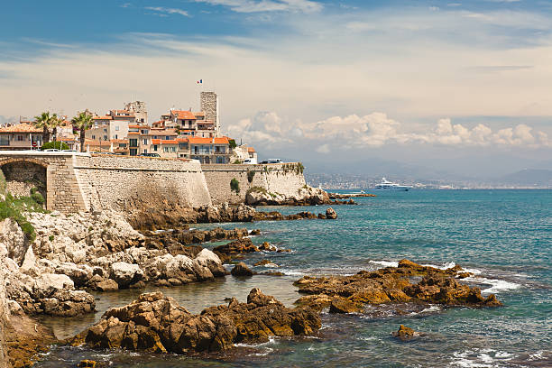 An aerial view of the town of Antibes  stock photo