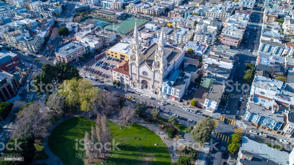 An Aerial view of Washington Square Park San Francisco, CA stock photo