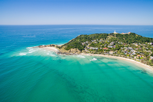 An Aerial View Of Wategoes Beach In Byron Bay Stock Photo - Download Image Now