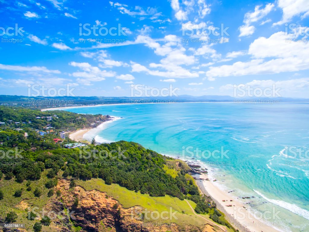 An aerial view of Wategoes Beach in Byron Bay stock photo