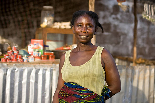 An African American woman posing for a picture stock photo