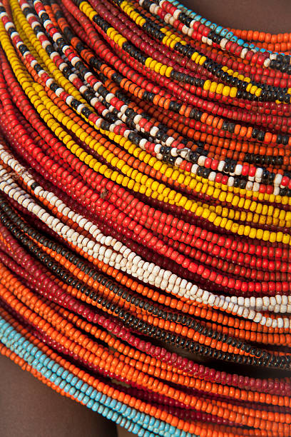 An African beaded necklace in a multitude of colors  stock photo
