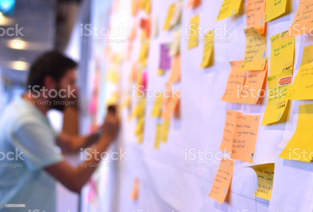 An agile worker updating Kanban board stock photo