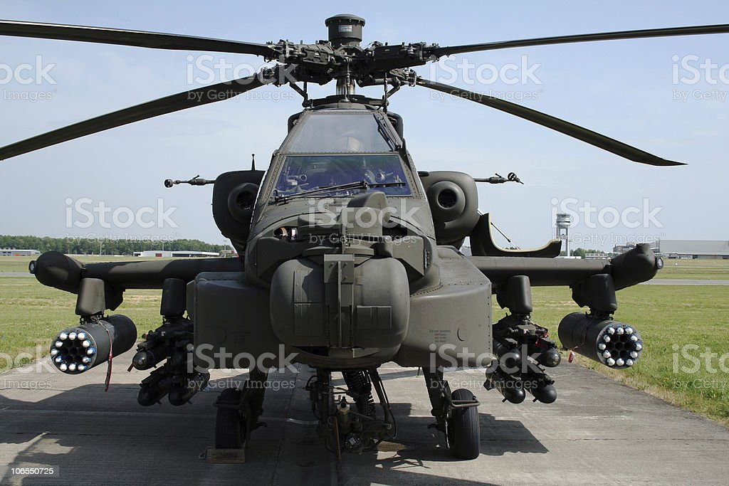 An AH-64 Apache Longbow military helicopter on the ground stock photo