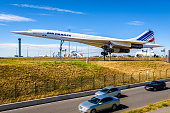 Roissy-en-France, France - July 27, 2020: The last Air France Concorde, having the registration number F-BVFF, is used as a display piece and exposed on Paris-Charles de Gaulle Airport since 2005.