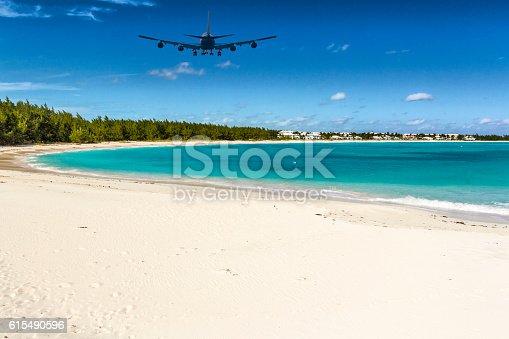 istock An Airplane approaching Exuma (Bahamas) over Emerald Bay 615490596