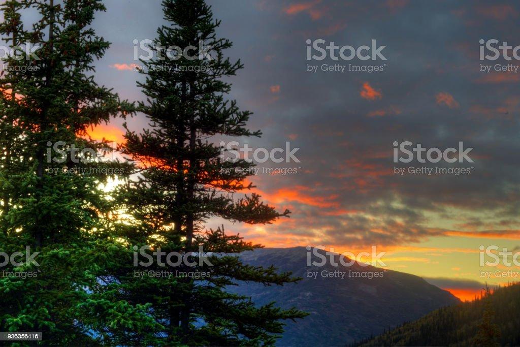 An Alaskan sunset in Denali National Park. stock photo