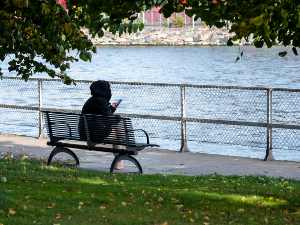 An alone girl sitting on a park bench reading her mobile phone stock photo