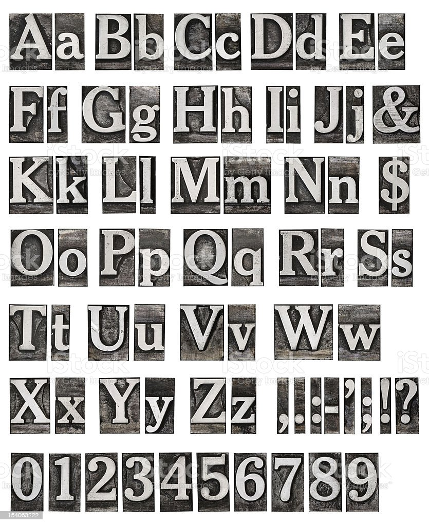 An alphabet from an old metal engraving stock photo