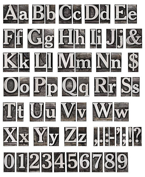 an alphabet from an old metal engraving - letterpress stock photos and pictures