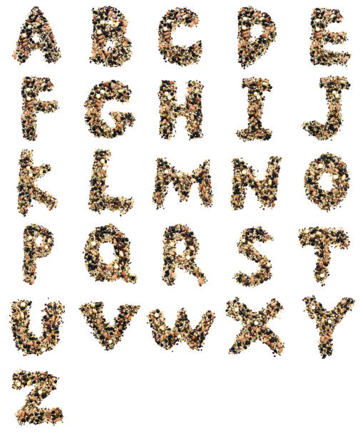 An alphabet made with cereals stock photo