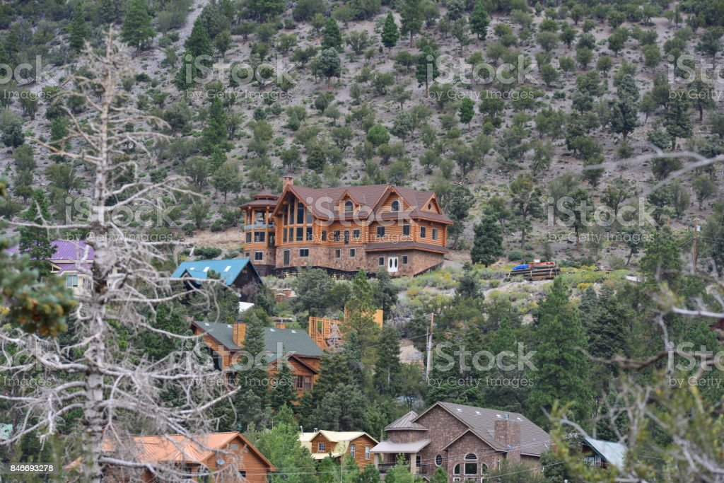 An Alpine lodge at Mount Charleston in Nevada. stock photo