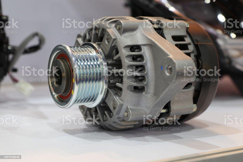 an alternator in engine stock photo