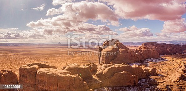 istock An Amazing Aerial Drone View Overlooking, The Monuments In Monument Valley, Teardrop Arch, Utah, Arizona, Monument Valley Tribal Park, 1285525961