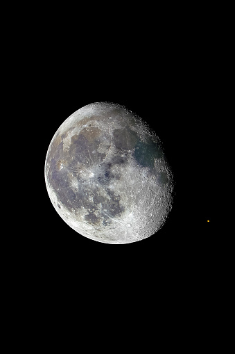 An amazing astronomical event, Moon surface covers planet Mars awe night sky view with an advanced amateur telescope. A dreamlike perspective view of our solar system and the Planets relative movement