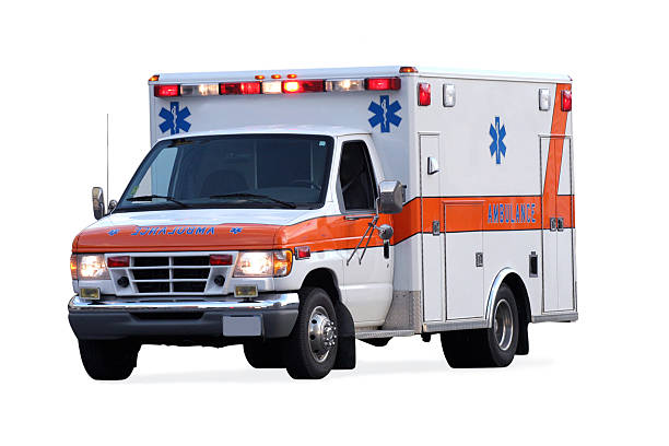 An ambulance with its lights on stock photo
