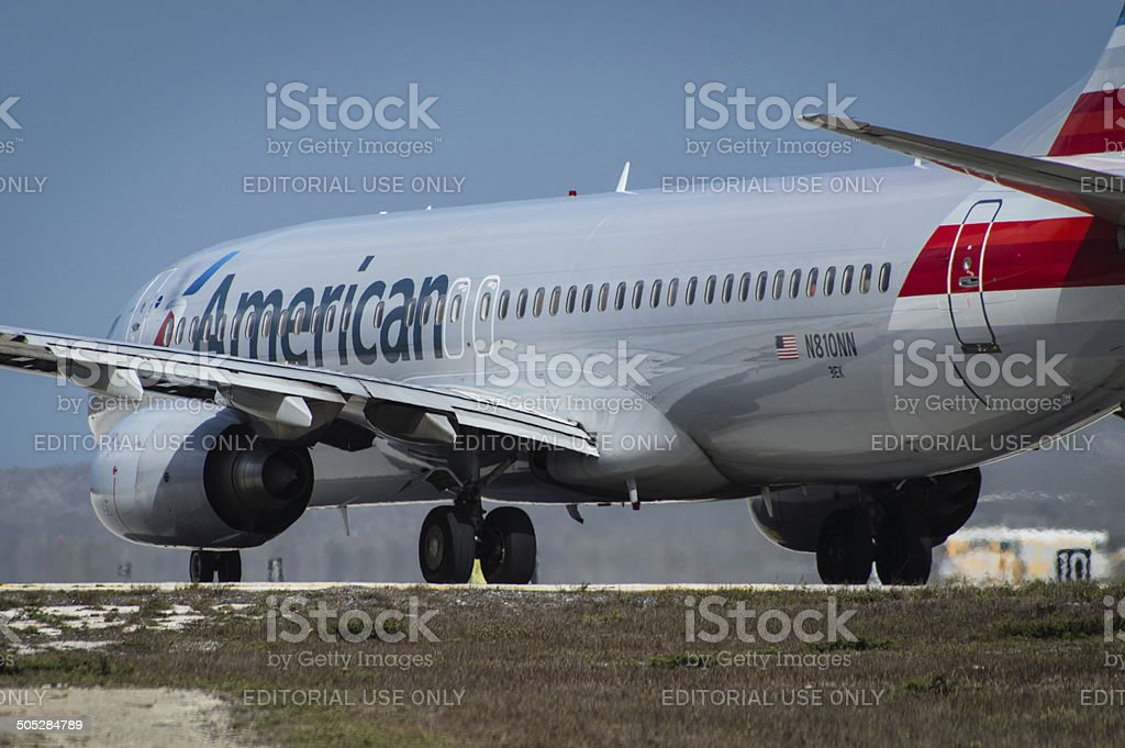 An American Airlines Boeing 737 stock photo