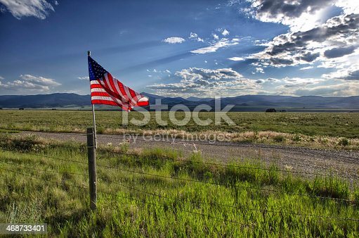 579407234 istock photo An American flag flown in the outside 468733401