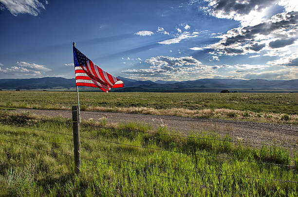 An American flag flown in the outside stock photo