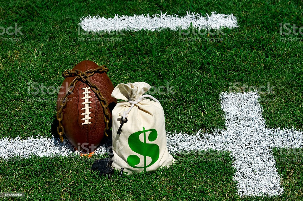 An American football team locked out do to money stock photo