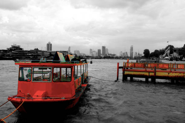 An Anchored Boat at Chao Phraya stock photo