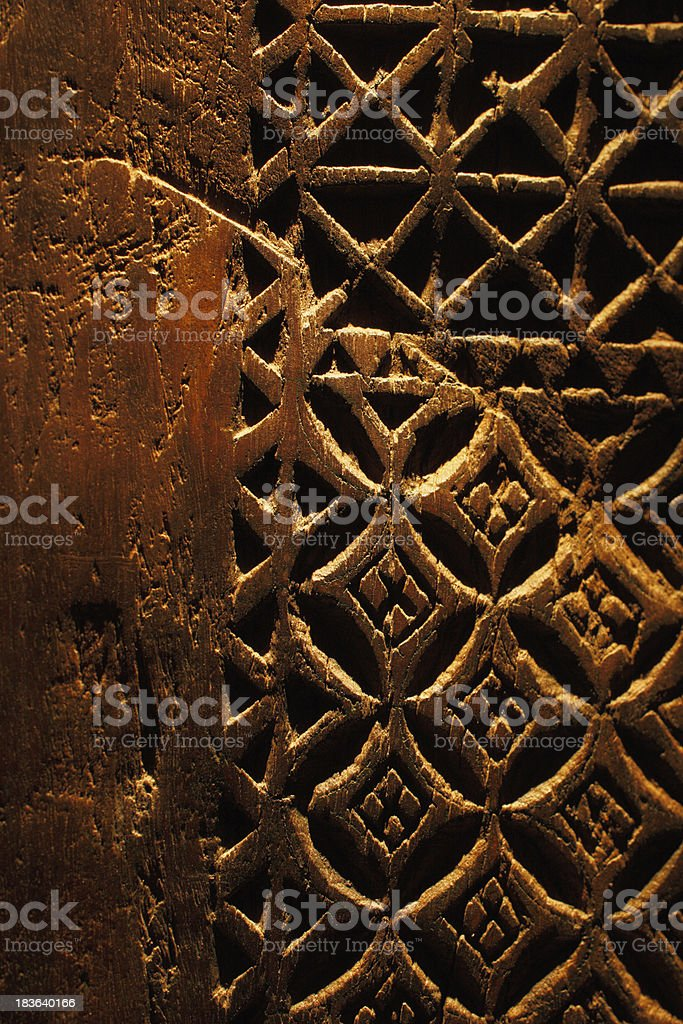 An ancient hand carved door from Arabia royalty-free stock photo