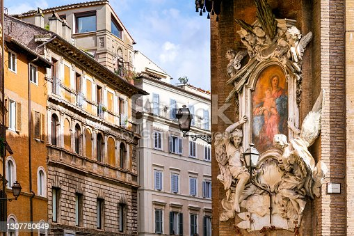 istock An ancient painting of the Virgin Mary with Child near Piazza Navona in old town Rome 1307780649