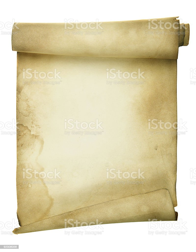 An ancient parchment scroll on a white background royalty-free stock photo