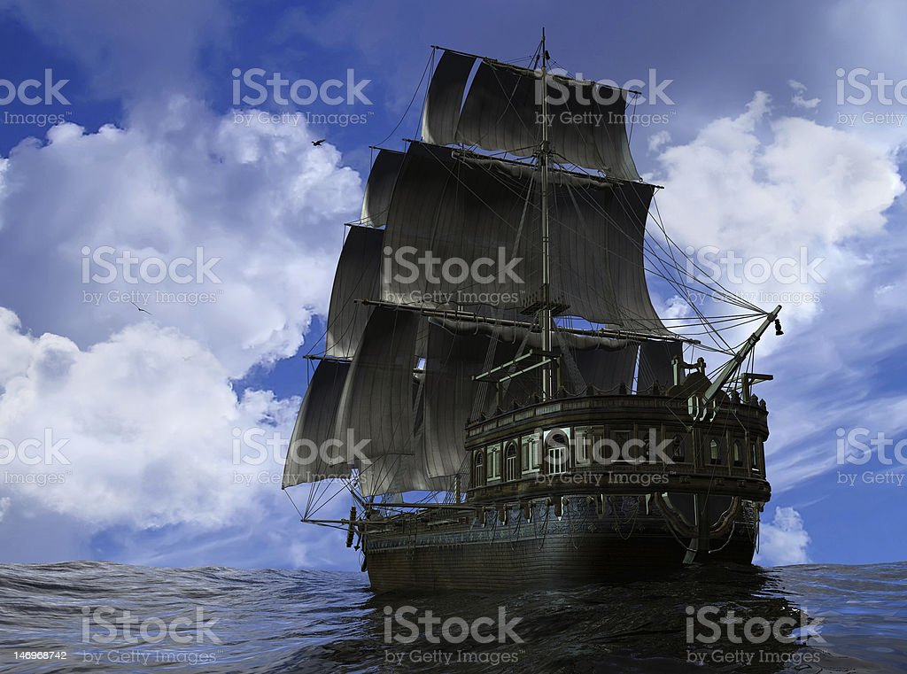 An ancient pirates ship on the sea stock photo