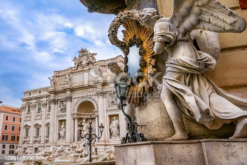 The splendid scenery of the Trevi Fountain without people. Built in 1732 on the wishes of Pope Clement XII, the Trevi Fountain it's one of the symbols of the late Roman Baroque, recognized as one of the most beautiful and famous fountains in the world. This fountain is also famous for being the setting for the film