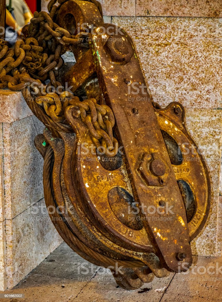 An ancient rusted windlass, a type of winch, La Palma, Canary Islands, Spain stock photo