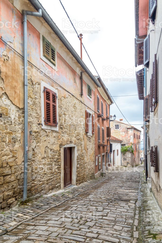 An ancient stone street in the city of Motovun on Istria. royalty-free stock photo