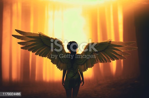 An angel in mystic forest,3d illustration