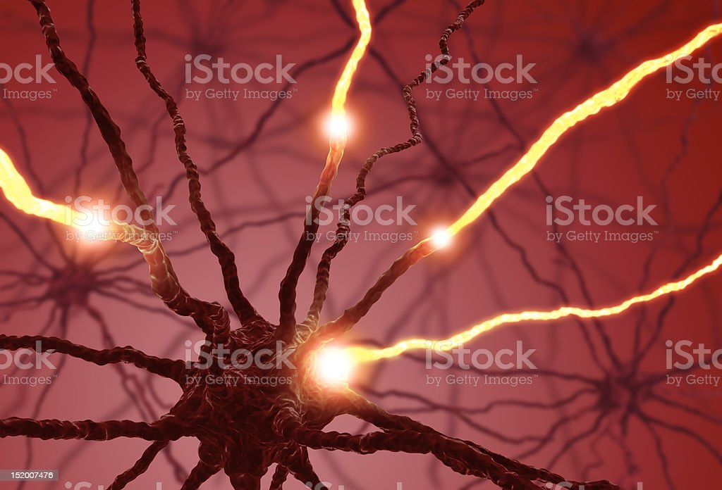An animation of a nerve cell pulsing stock photo