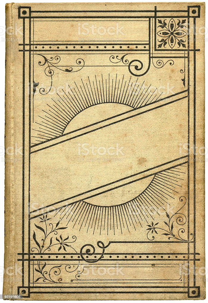 An antique book with no title and a floral frame stock photo