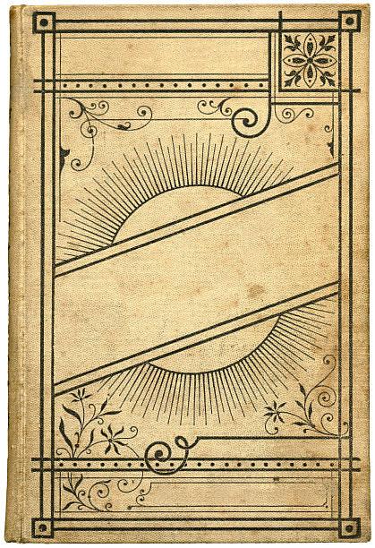 antikes buch mit einer illustration eines floral frame - blumenstreifen stock-fotos und bilder