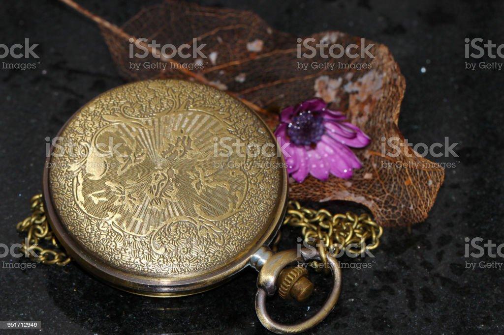 An antique pocket watch stock photo