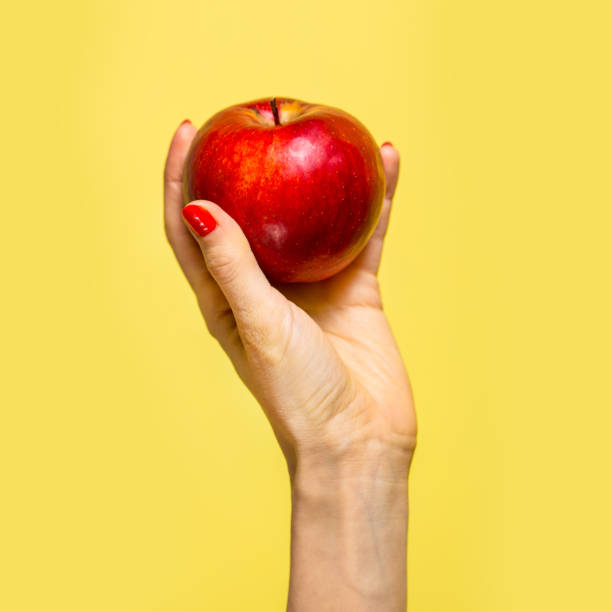 an apple in a hand - apple fruit stock photos and pictures