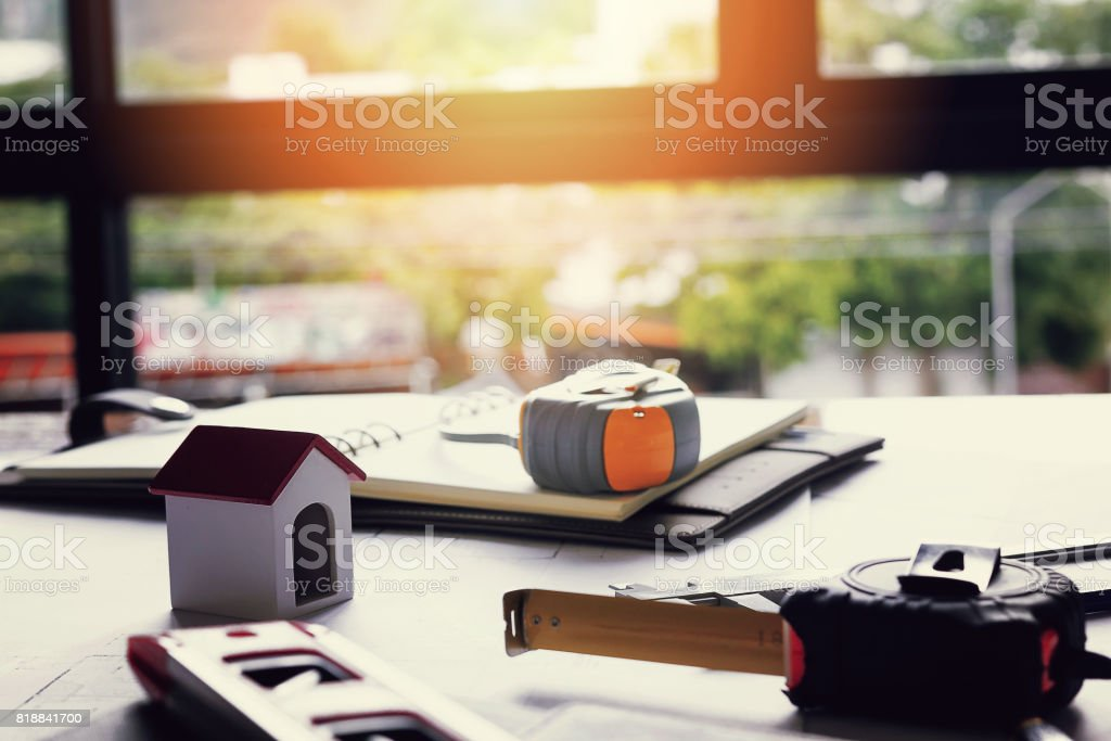 An architect working desk with copy space - Architectural Concept stock photo