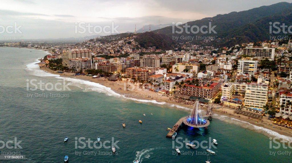 An Areal View Of El Malecon Boardwalk Los Muertos Pier And