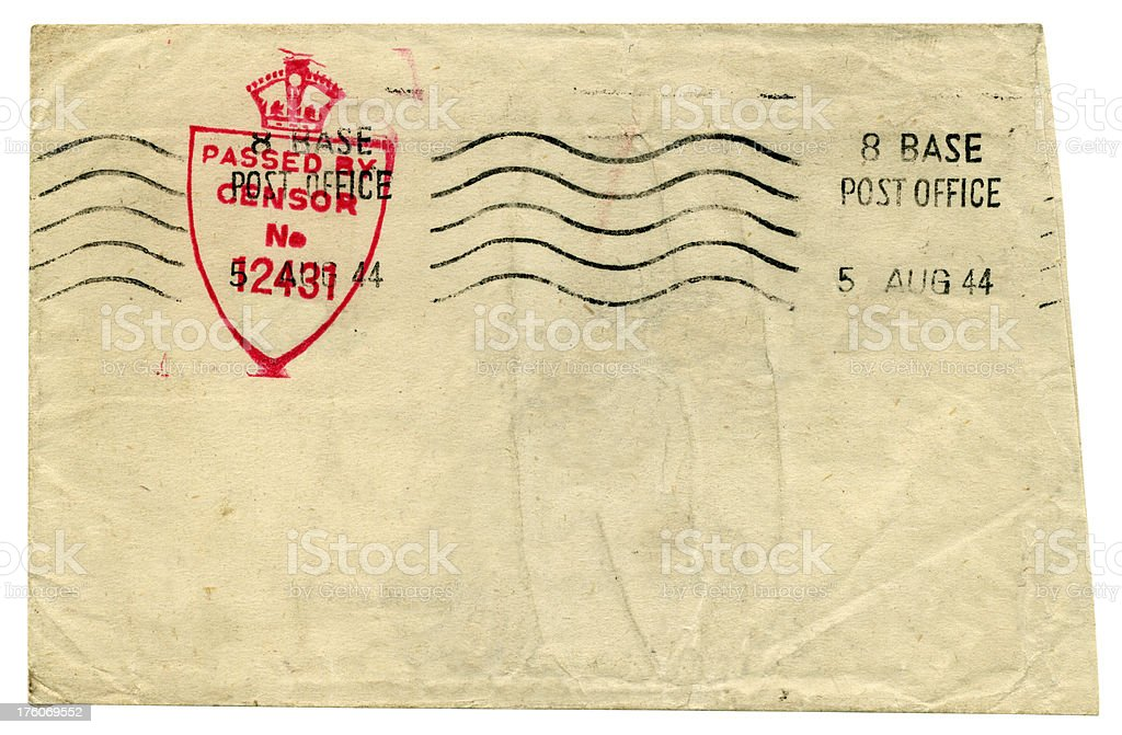 An army envelope from 1944 sent via Base Post Office royalty-free stock photo